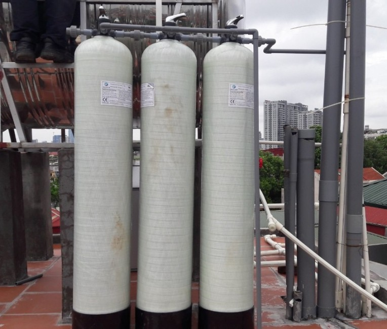 Bộ 3 cột lọc thô composite xử lý nước đầu nguồn