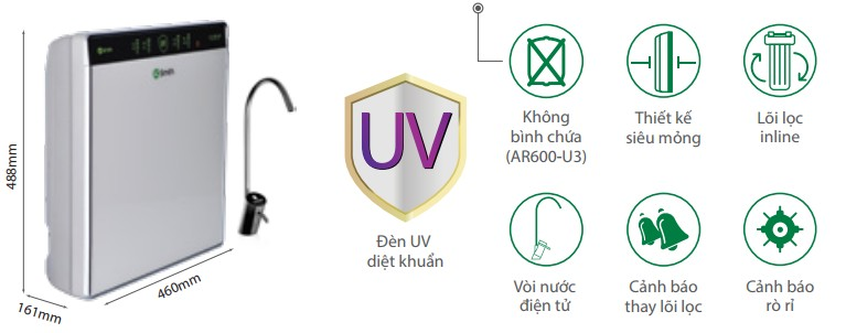 Máy lọc nước Ro Aosmith UV AR600 - U3